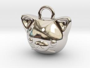 CUTEY KITTY PENDANT in Rhodium Plated Brass