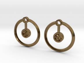 Hydrogen Earring in Polished Bronze