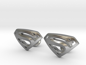 Superman Cufflinks in Natural Silver