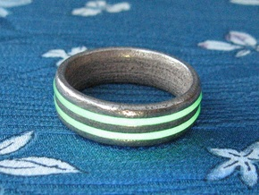 US13 O-Ring Ring: Glow (Stainless Steel) in Polished Bronzed Silver Steel