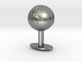 Earth Cufflink in Natural Silver