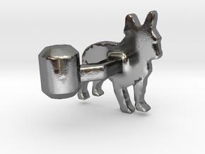 French Bulldog Cufflink in Polished Silver