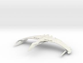 "Valdore Class Romulan Warbird  6"" wing to wing tip in White Natural Versatile Plastic"
