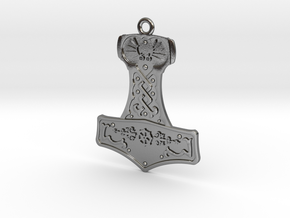 Steampunk Mjolnir Pendant in Polished Silver