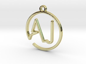 A & J Monogram Pendant in 18k Gold Plated Brass
