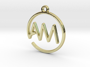 A & M Monogram Pendant in 18k Gold Plated Brass