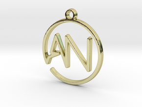A & N Monogram Pendant in 18k Gold Plated Brass