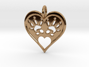 Rat Foot Print Heart Pendant in Polished Brass