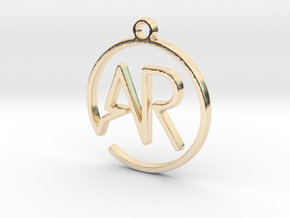 A & R Monogram Pendant in 14k Gold Plated Brass