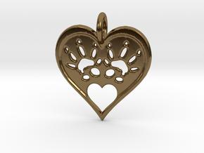 Rat Foot Print Heart  in Polished Bronze