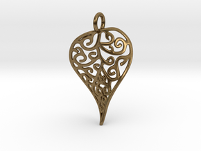 Fine Twisted Leaf Pendant in Natural Bronze
