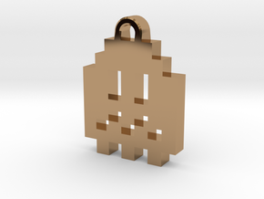Pac Man Ghost 8-bit Earring 1 (afraid) in Polished Brass