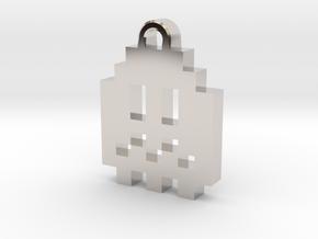 Pac Man Ghost 8-bit Earring 1 (afraid) in Rhodium Plated Brass