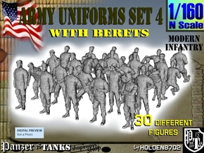 1-160 Army Modern Uniforms Set4 in Smoothest Fine Detail Plastic