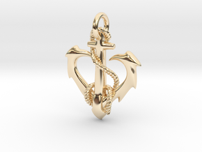 anchor heart in 14k Gold Plated Brass