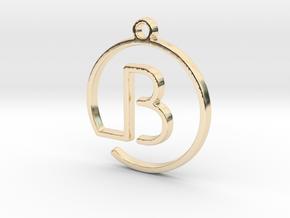 B Monogram Pendant in 14k Gold Plated Brass