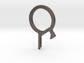 Multipurpose Bottle Opener Keychain in Polished Bronzed Silver Steel