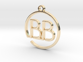 """B&B continuous line"" Monogram Pendant in 14k Gold Plated Brass"