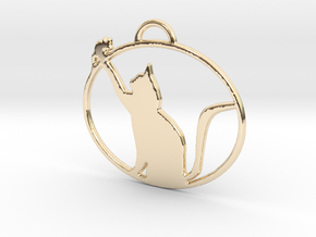 Friendly Cat Pendant in 14K Yellow Gold