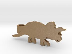 Triceratops Tie Clip in Matte Gold Steel
