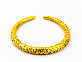 DRAGON TALES Solid, Bracelet Thin, Medium Size,d=6 in 18k Gold Plated: Medium