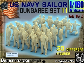 1-160 US Navy Dungaree Set 11 in Smoothest Fine Detail Plastic