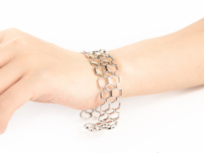 Honeyfull S Bracelet, Medium Size, 65mm in Rhodium Plated Brass: Medium