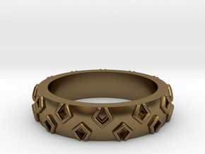3D Printed Be a Little Different Punk Ring Size 7  in Polished Bronze