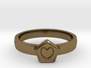 3D Printed Bond What You Love Ring Size 7  in Polished Bronze