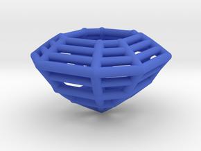 3D Printed Diamond Asscher Cut Earrings (Small) in Blue Processed Versatile Plastic