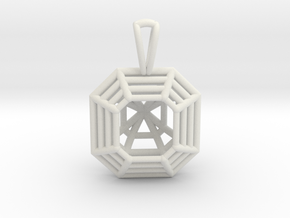 3D Printed Diamond Asscher Cut Pendant  in White Strong & Flexible