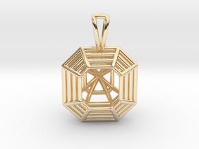 3D Printed Diamond Asscher Cut Pendant  in 14k Gold Plated Brass