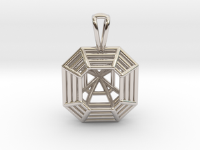 3D Printed Diamond Asscher Cut Pendant  in Rhodium Plated Brass