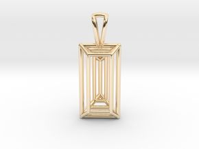 3D Printed Diamond Baugette Cut Pendant (Small) in 14k Gold Plated Brass