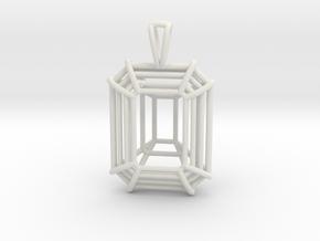 3D Printed Diamond Emerald Cut Pendant Large in White Natural Versatile Plastic