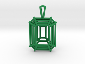 3D Printed Diamond Emerald Cut Pendant (Small)  in Green Strong & Flexible Polished