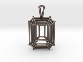 3D Printed Diamond Emerald Cut Pendant (Small)  in Polished Bronzed Silver Steel