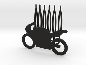 Motorbike decorative hair comb - big size in Black Natural Versatile Plastic