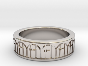 3D Printed Harmony Ring Size 7 by bondswell3D in Rhodium Plated Brass