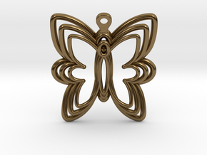 3D Printed Wired Butterfly Earrings  in Polished Bronze