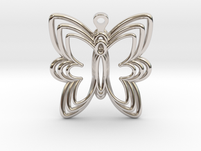 3D Printed Wired Butterfly Earrings  in Rhodium Plated Brass