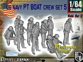 1/64 US Navy PT Boat Crew Set5 in Smooth Fine Detail Plastic