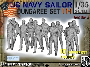 1-35 US Navy Dungaree Set 11-1 in Smooth Fine Detail Plastic
