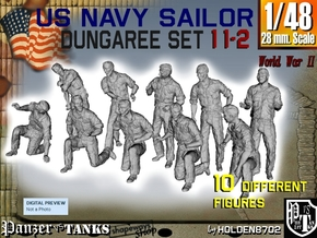 1-48 US Navy Dungaree Set 11-2 in Smooth Fine Detail Plastic