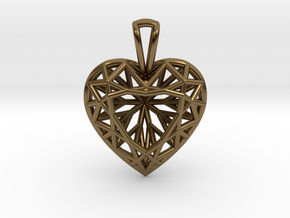 3D Printed Diamond Heart Cut Pendant (Small) in Polished Bronze