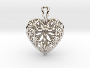 3D Printed Diamond Heart Cut Pendant (Small) in Rhodium Plated Brass