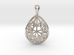 3D Printed Diamond Pear Drop Pendant  in Rhodium Plated Brass