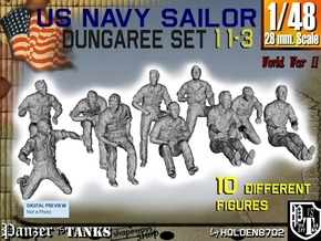 1-48 US Navy Dungaree Set 11-3 in Smooth Fine Detail Plastic