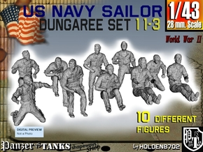 1-43 US Navy Dungaree Set 11-3 in Smooth Fine Detail Plastic