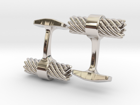 Mens Cufflinks twisted spiral in Rhodium Plated Brass